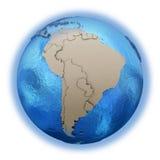 Südamerika auf Modell von Planet Erde Stockbild