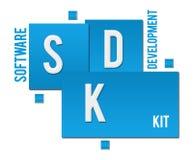 SDK - Développement de logiciel Kit Blue Squares Text illustration stock
