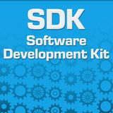 SDK - Softwareentwicklung Kit Blue Gears Background vektor abbildung