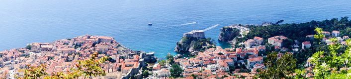 Sdr dubrovnik croatia. Walking Trail from the top of Mount Sdr to Dubrovnik with a great panoramic view royalty free stock images