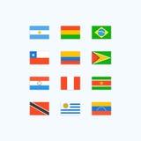Södra - amerikanska landsflaggor Arkivfoto