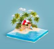 Sdrai su una spiaggia di sabbia illustrazione vettoriale