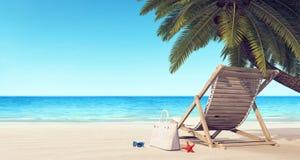 Sdraio sulla spiaggia nell'ambito del fondo di estate della palma Fotografie Stock Libere da Diritti