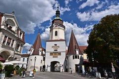Südtirolerplatz and Steiner Tor in Krems Stock Photography