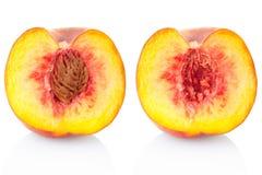 Seção da fruta do pêssego Imagens de Stock Royalty Free
