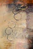 Seção da pintura abstrata dos media misturados Fotografia de Stock