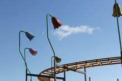 Seção da trilha do roller coaster com luzes Fotografia de Stock Royalty Free