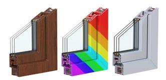 A seção de ross do  de três Ñ com um perfil do PVC da janela laminou a grão de madeira, branco clássico e multi-colorido 3d rend Imagem de Stock