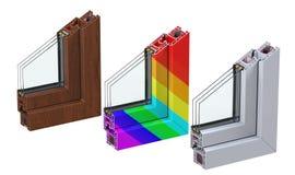 A seção de ross do  de três Ñ com um perfil do PVC da janela laminou a grão de madeira, branco clássico e multi-colorido 3d rend Foto de Stock