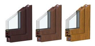 A seção de ross do  de três Ñ com um perfil do PVC da janela laminou a grão de madeira 3D rendem, isolado no fundo branco Fotografia de Stock Royalty Free