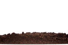 Seção do solo ou da sujeira isolada no fundo branco fotografia de stock