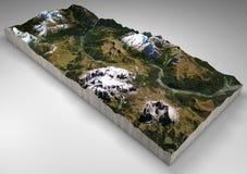 Seção do terreno, Canazei, Val di Fassa, Trentino Alto Adige, Itália Montanhas e montes, picos das dolomites, Sassolungo Imagens de Stock