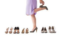 Seção meados de dos saltos de tentativa da mulher Imagens de Stock Royalty Free