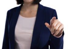 Seção meados de tela invisível tocante da mulher de negócios imagem de stock
