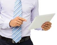 Seção mestra do homem de negócios Using Digital Tablet Imagem de Stock