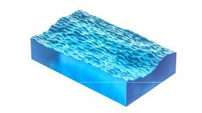 Seção retangular do oceano ou da água do mar, com ondas pequenas ilustração 3D, isolada no fundo branco Imagem de Stock Royalty Free