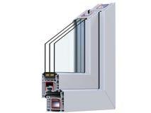 Seção transversal com um perfil do PVC da janela 3D rendem, isolado no fundo branco Foto de Stock Royalty Free