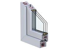 Seção transversal com um perfil do PVC da janela 3D rendem, isolado no fundo branco Imagem de Stock