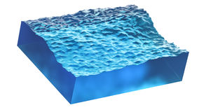 Seção transversal da onda com agua potável azul Ilustração 3d realística isolada no fundo branco Imagem de Stock