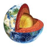 Seção transversal da terra. Versão exterior do núcleo. Imagens de Stock Royalty Free