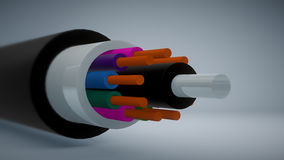 Seção transversal do cabo distribuidor de corrente Fotos de Stock