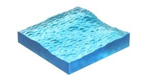 Seção transversal do cubo da água ilustração 3D, isolada no fundo branco Foto de Stock Royalty Free