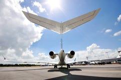 Seção traseira do jato global de 5000 negócios do bombardeiro executivo de Catar em Singapura Airshow 2012 Imagens de Stock