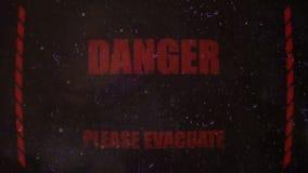 Señal alerta de la evacuación biológica en una pantalla sucia vieja almacen de video
