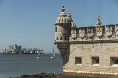Señal arquitectónica Lisboa de la historia europea de la vista del patrimonio mundial de la UNESCO de Torre de Belem fotografía de archivo libre de regalías