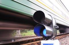 Señal azul del tren, falta de definición de movimiento Foto de archivo