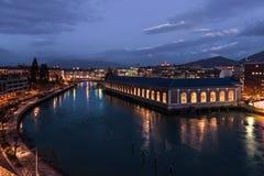 Señal con la opinión sobre Ginebra y el río Rhone Fotos de archivo