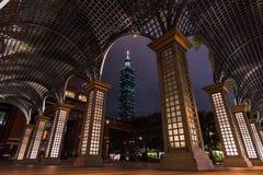 Señal constructiva de Taipei 101 de Taipei, Taiwán Imagen de archivo