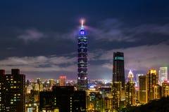 Señal constructiva de Taipei 101 de Taipei, Taiwán Fotos de archivo