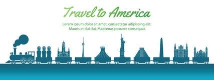 Señal de América llevada por el tren, estilo de la silueta del arte del concepto, ejemplo del vector, pendiente azulverde libre illustration