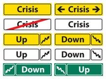 Señal de dirección de la crisis Foto de archivo