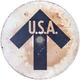 Señal de dirección de los E.E.U.U. de la vendimia Fotografía de archivo