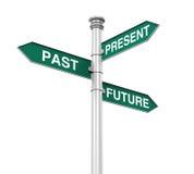 Señal de dirección de más allá, futuro, y presente Foto de archivo libre de regalías