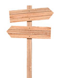 Señal de dirección de madera en blanco aislada en blanco Imagen de archivo