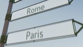 Señal de dirección de Roma en poste indicador del camino con los subtítulos europeos de las ciudades clip conceptual 4K ilustración del vector