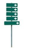 Señal de dirección en blanco con las flechas (añada su texto) en el fondo blanco Imagen de archivo libre de regalías