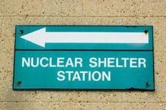 Señal de dirección nuclear del abrigo Fotos de archivo libres de regalías