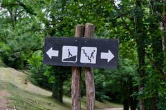 Señal de dirección, parque nacional de Plitvice, Croacia Imagen de archivo libre de regalías