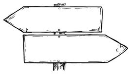 Señal de dirección vacía del vector de la historieta con dos flechas de la decisión foto de archivo libre de regalías