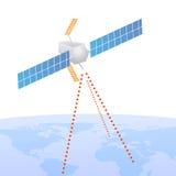 Señal de envío basada en los satélites a la tierra Imagenes de archivo
