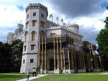 Señal de Hluboka del castillo en República Checa fotografía de archivo