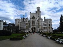 Señal de Hluboka del castillo en República Checa imagen de archivo