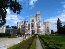 Señal de Hluboka del castillo en República Checa imágenes de archivo libres de regalías
