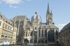 Señal de la ciudad de la catedral de Aquisgrán en Alemania. Imágenes de archivo libres de regalías