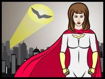 Señal de la muchacha del super héroe Fotos de archivo