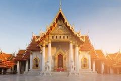 Señal de mármol blanca de Bangkok Tailandia del templo Imagenes de archivo